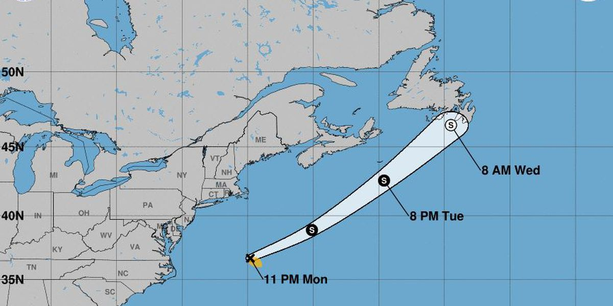 Tropical Storm Bill swirls, briefly, far out at sea