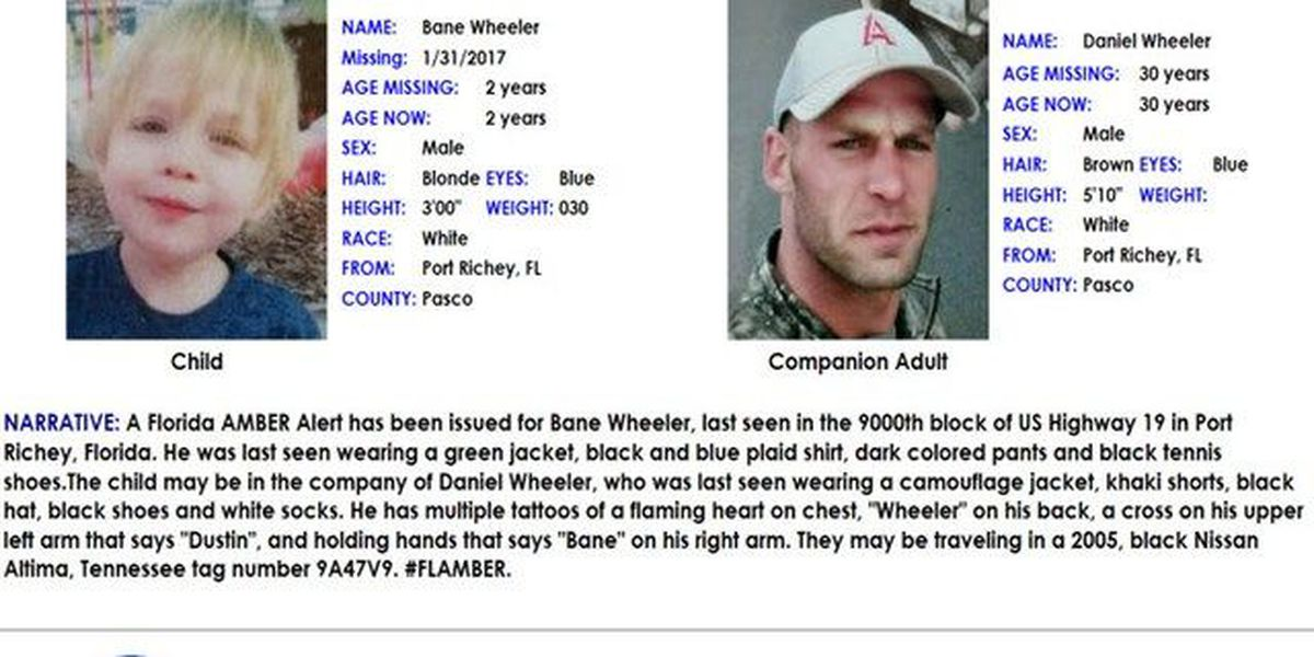 AMBER Alert canceled for 2-year-old Pasco boy Bane Wheeler