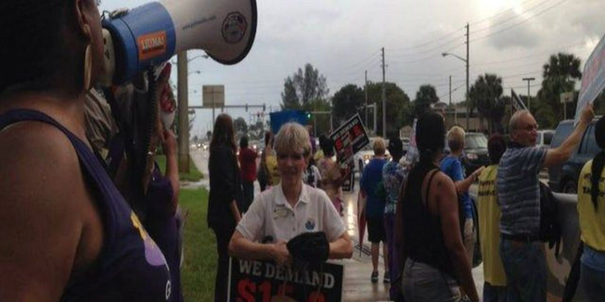 More than a hundred rally to Fight for $15 in West Palm Beach, workers demand higher wages