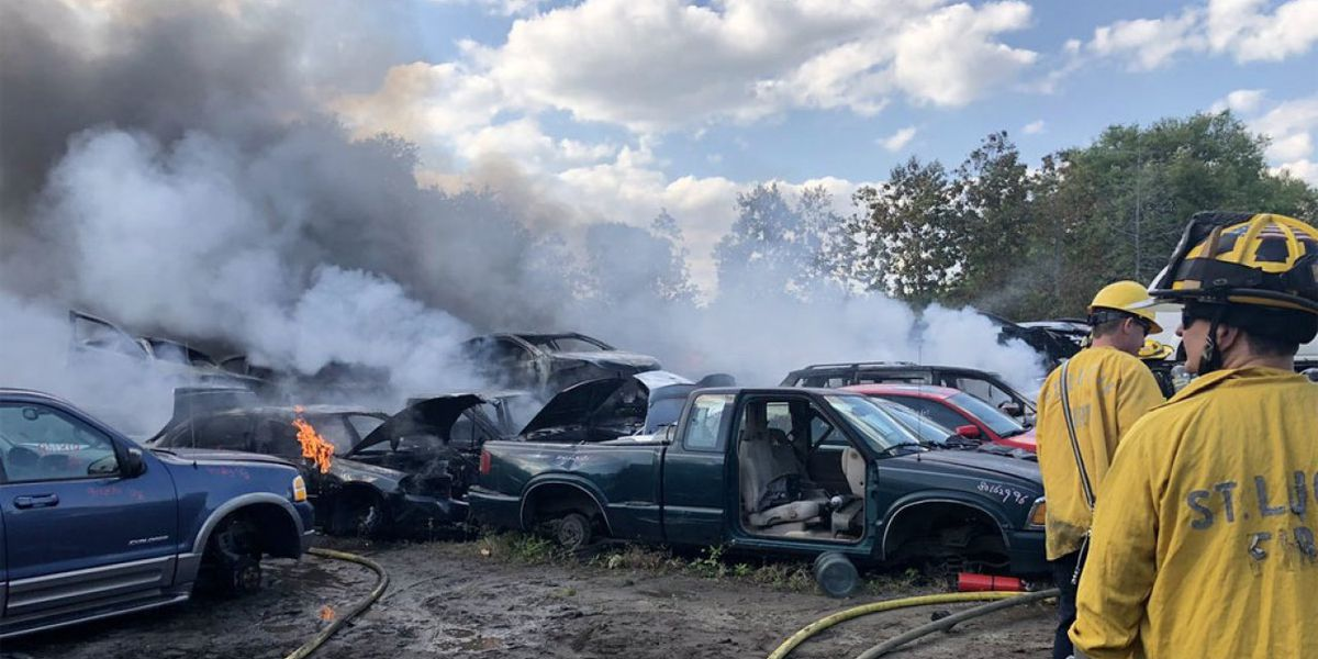 Several cars burn at St. Lucie County salvage yard
