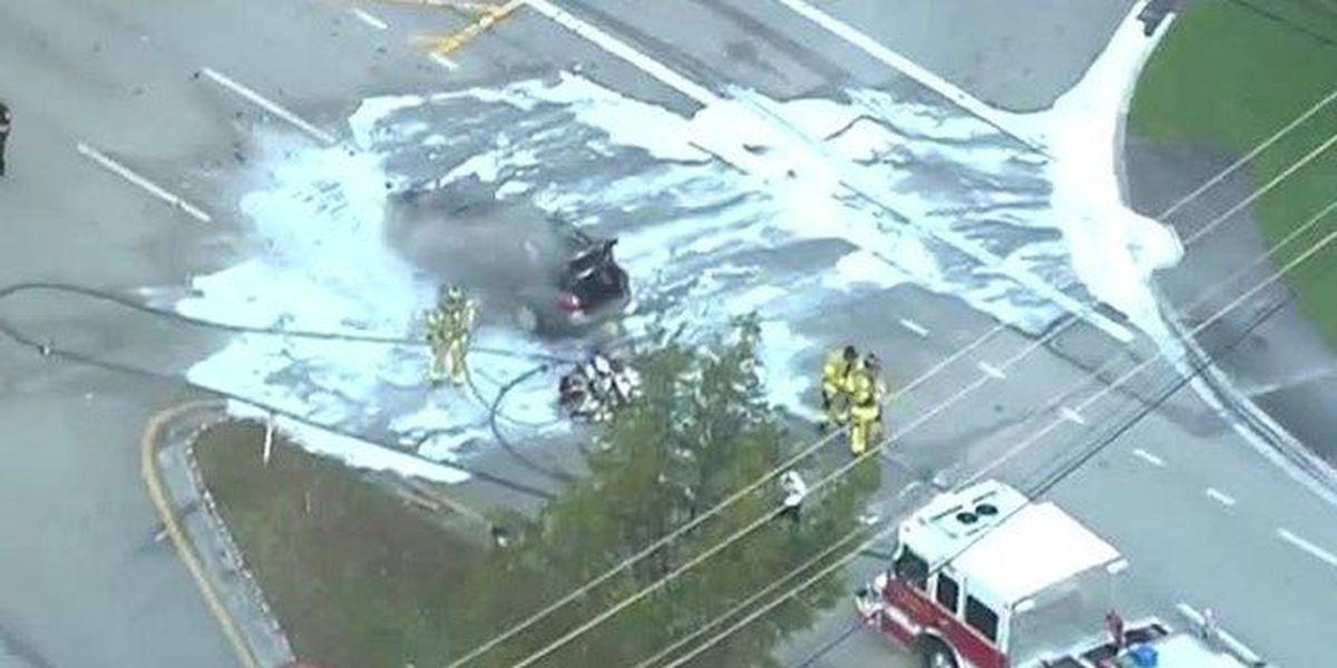 Car destroyed by fire in suburban Boynton Beach