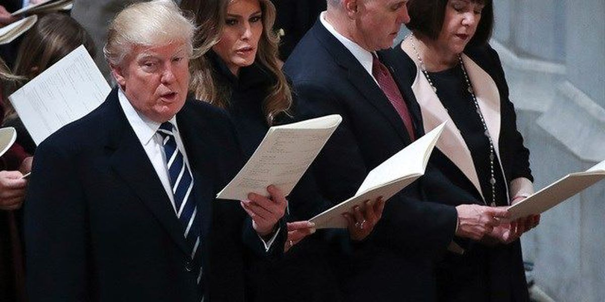 Trump opens first full day on job at church