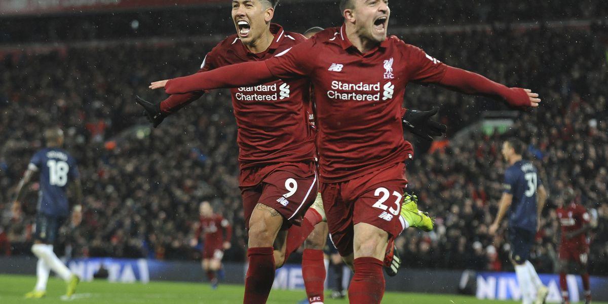 Shaqiri double earns Liverpool 3-1 win over Man United
