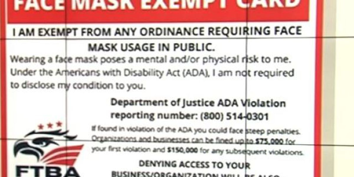 Fake face mask exempt cards being used in Palm Beach County