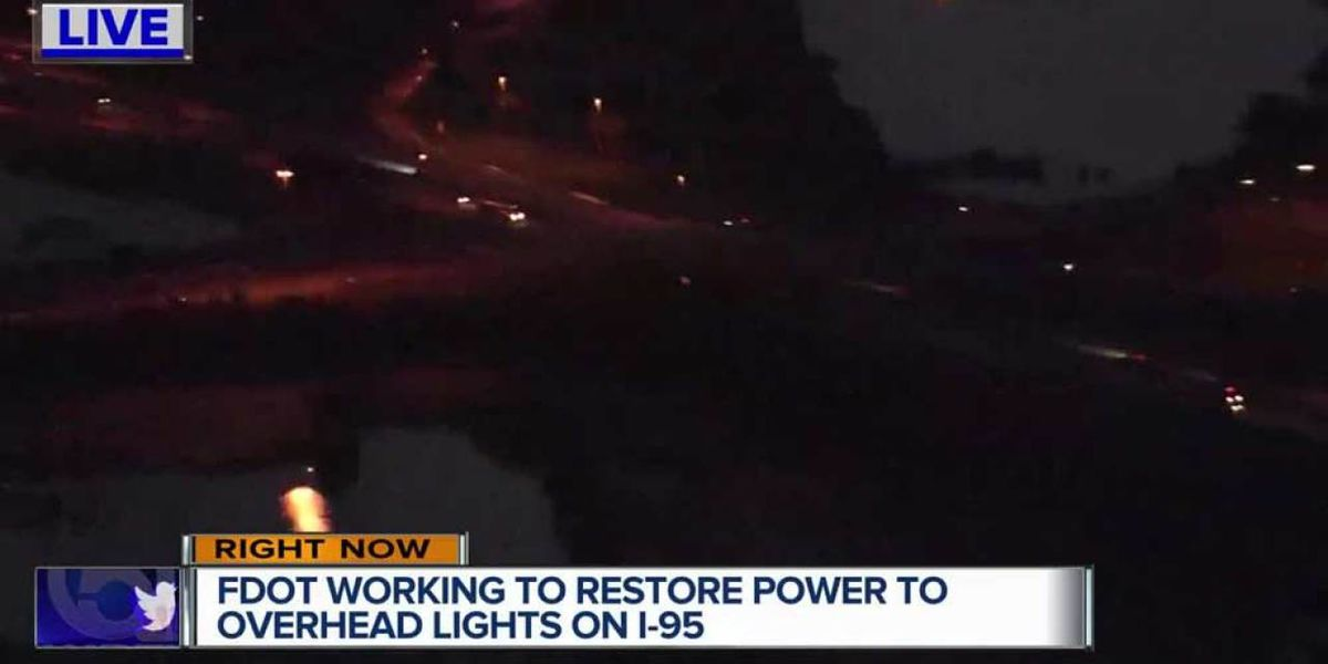 FDOT working to restore street lights on I-95 in West Palm Beach after outage