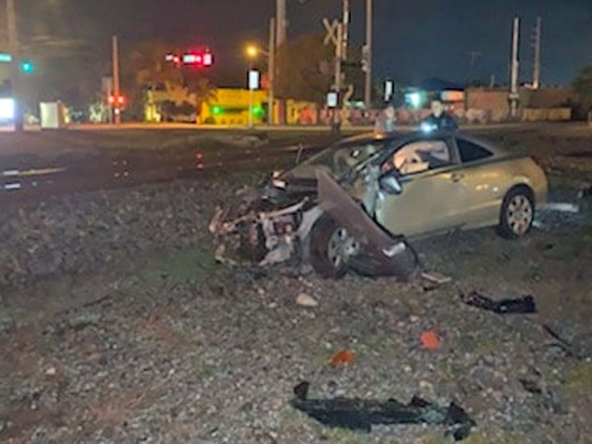Car crushed and thrown 10 feet by train in Vero Beach
