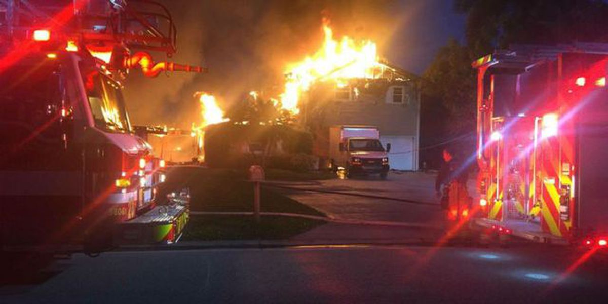 Crews battle house fire in Palm City