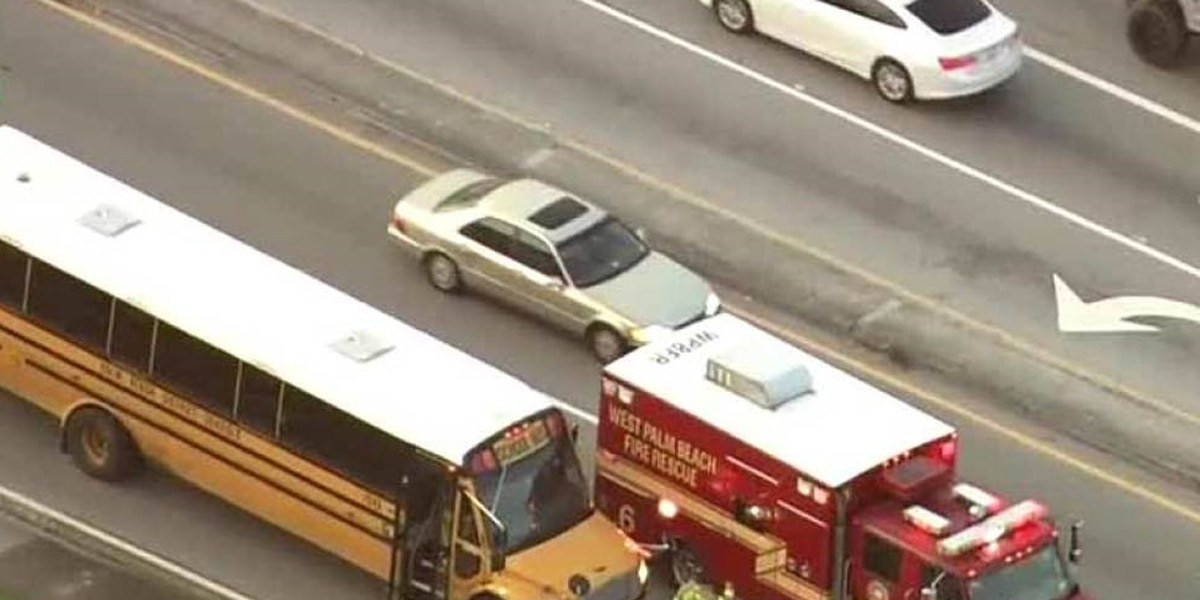 Students taken to hospital after school bus crash on 45th St. near Congress Ave. in West Palm Beach