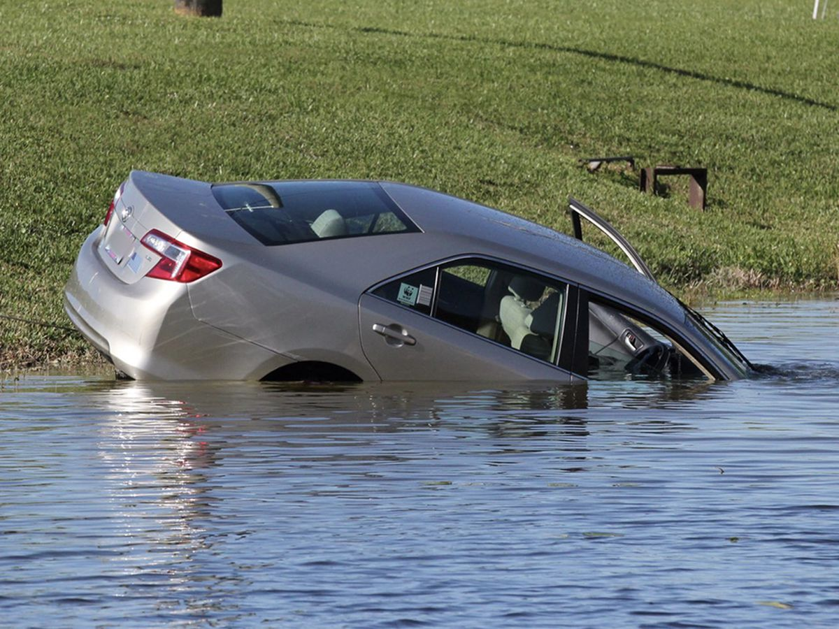 Car crashes into pond in suburban West Palm Beach