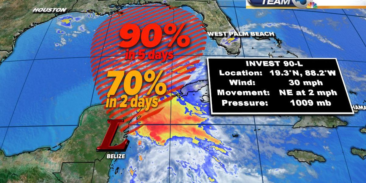 90% chance for tropical system to develop in the Gulf of Mexico