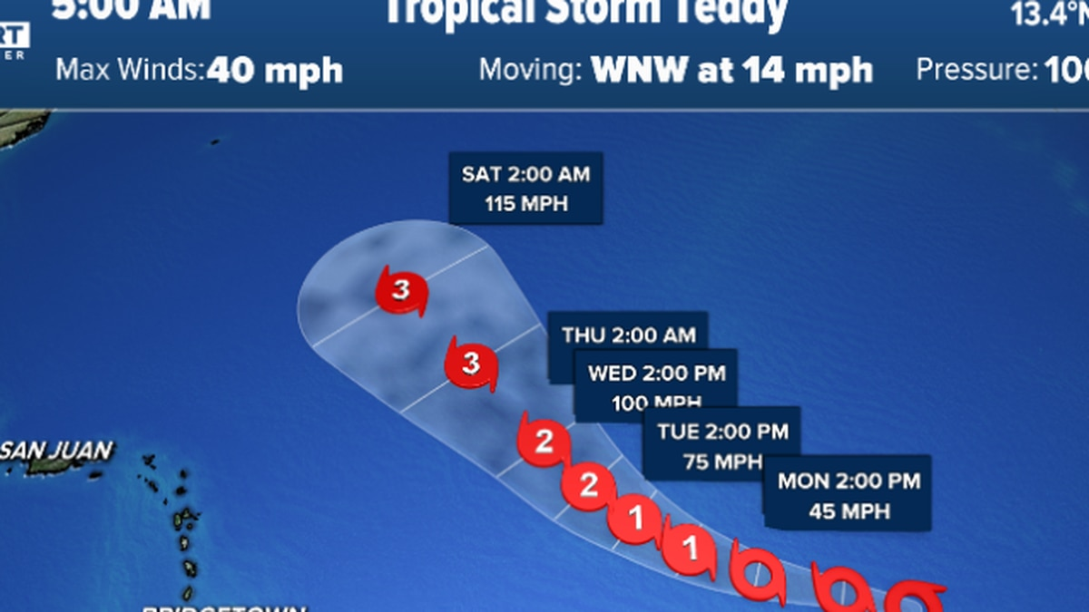 Tropical Storm Teddy becomes 4th active named storm in Atlantic basin