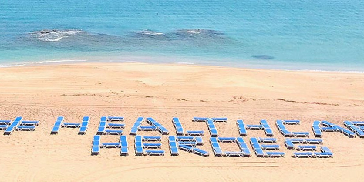 #HealthcareHeroes written out with beach chairs