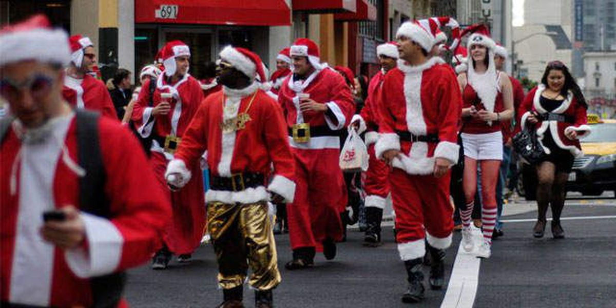 Red-suited SantaCon revelers fan out across NYC