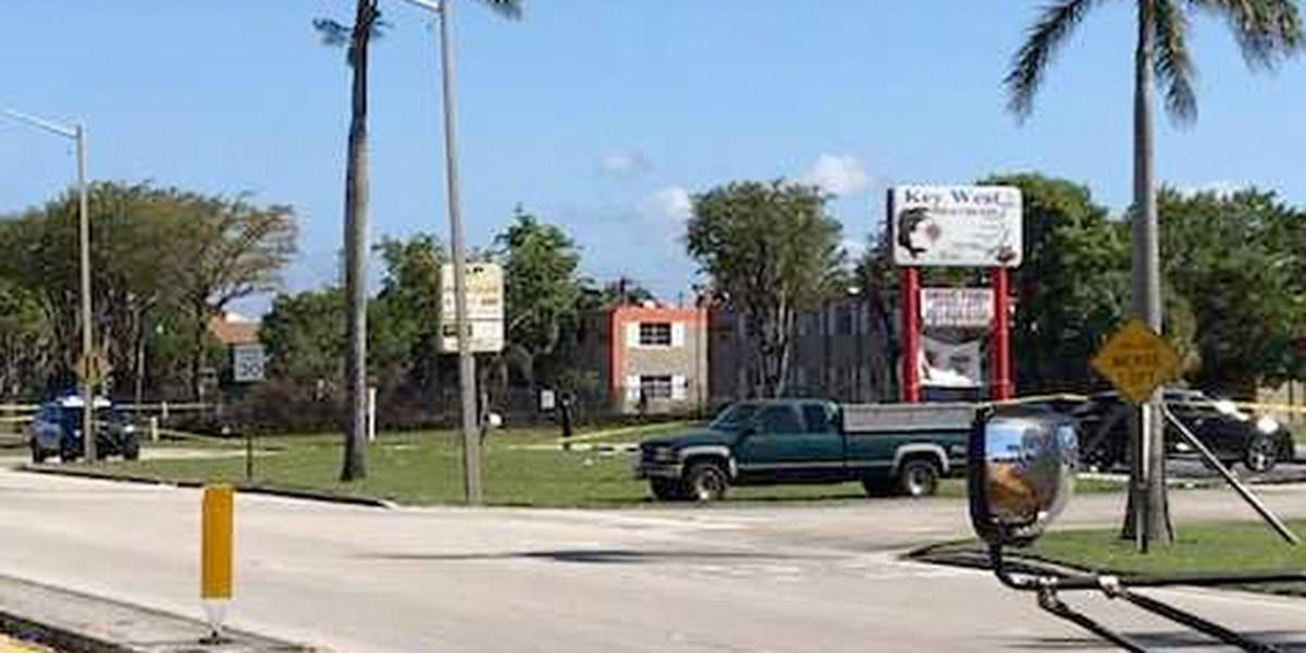 Vehicle shot in West Palm Beach, no injuries