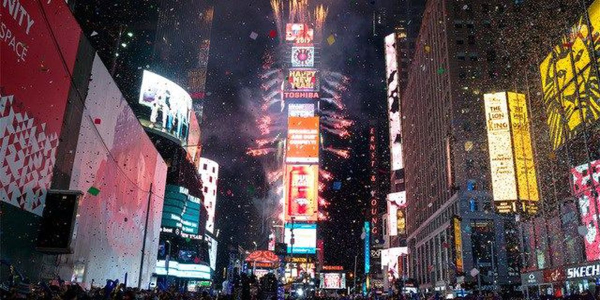 New Year's revelers ring in 2017 in Times Square