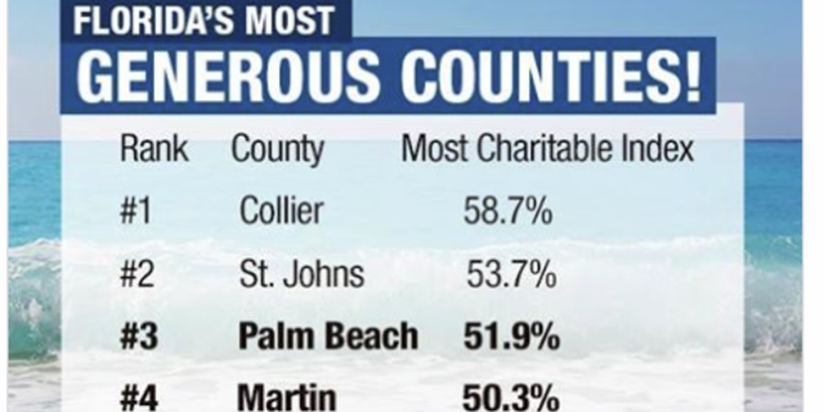 Three local counties among most generous in FL