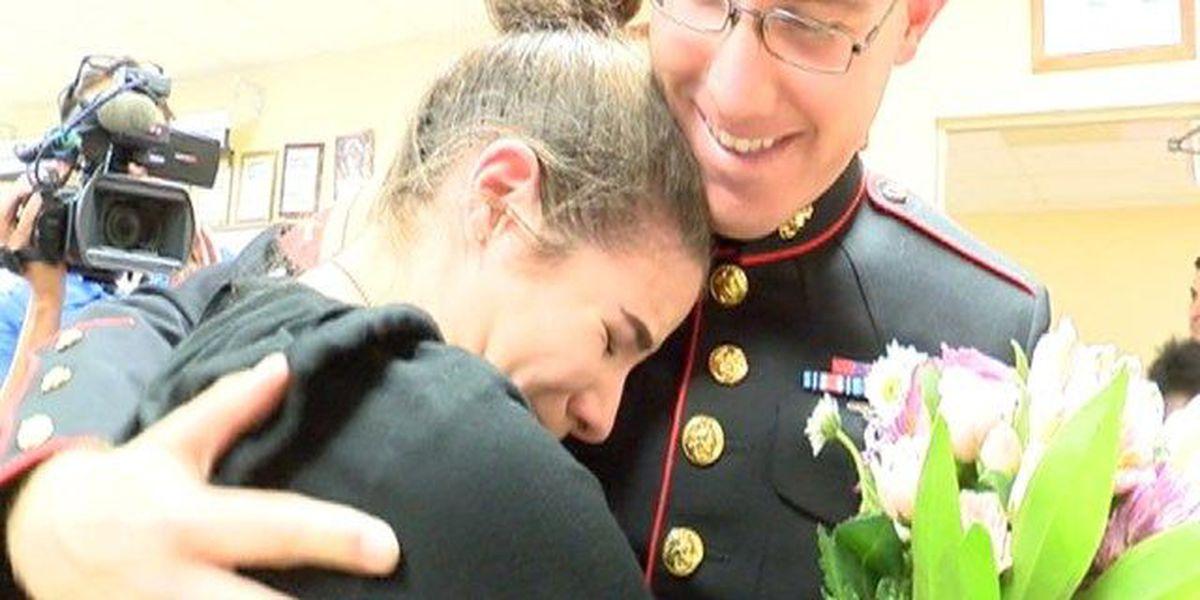 Marine surprises sister at Palm Beach Gardens High School