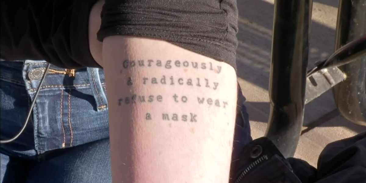 Woman goes viral for badly timed mask tattoo