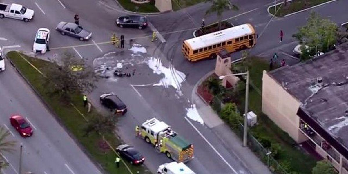 Motorcyclist killed in crash with school bus