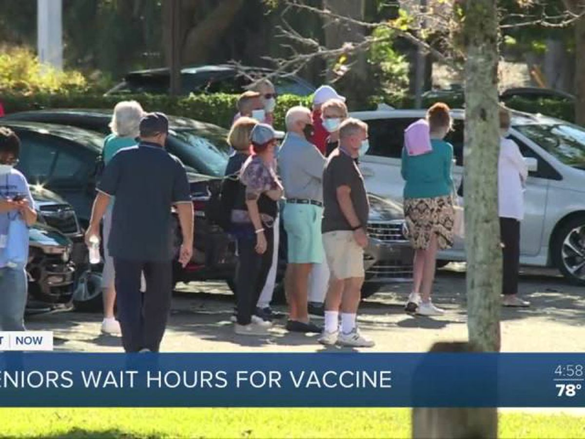Seniors wait in sun for hours to get vaccine in West Delray