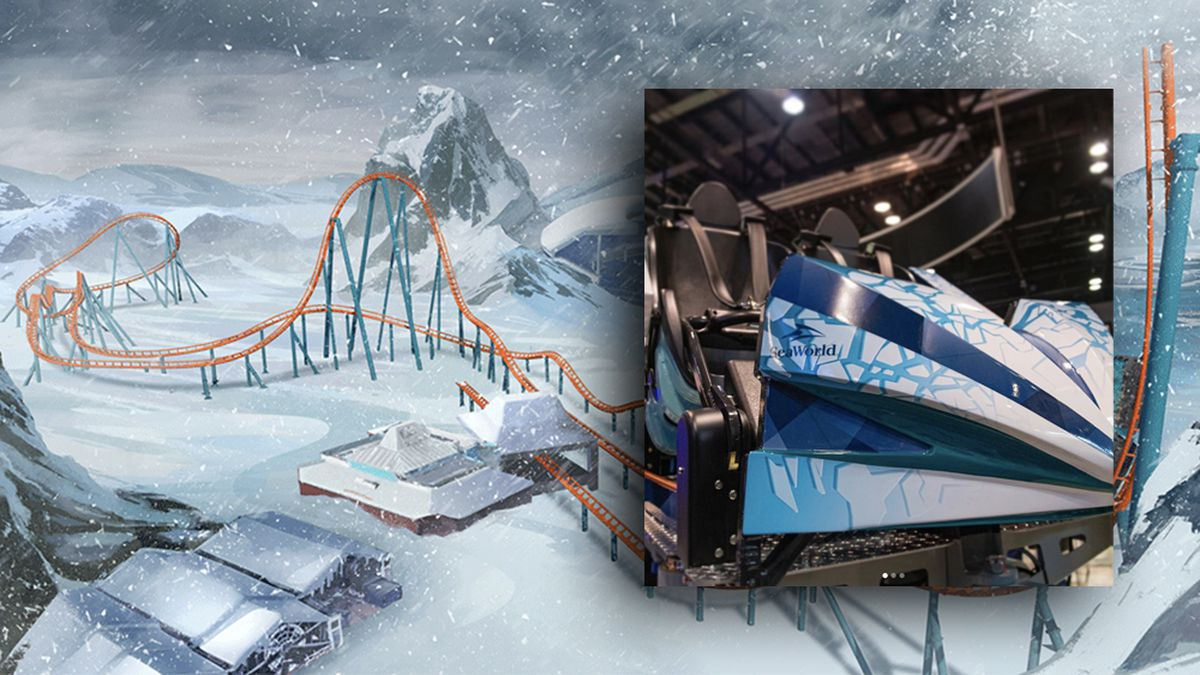 Ride vehicle unveiled for SeaWorld's Ice Breaker roller coaster