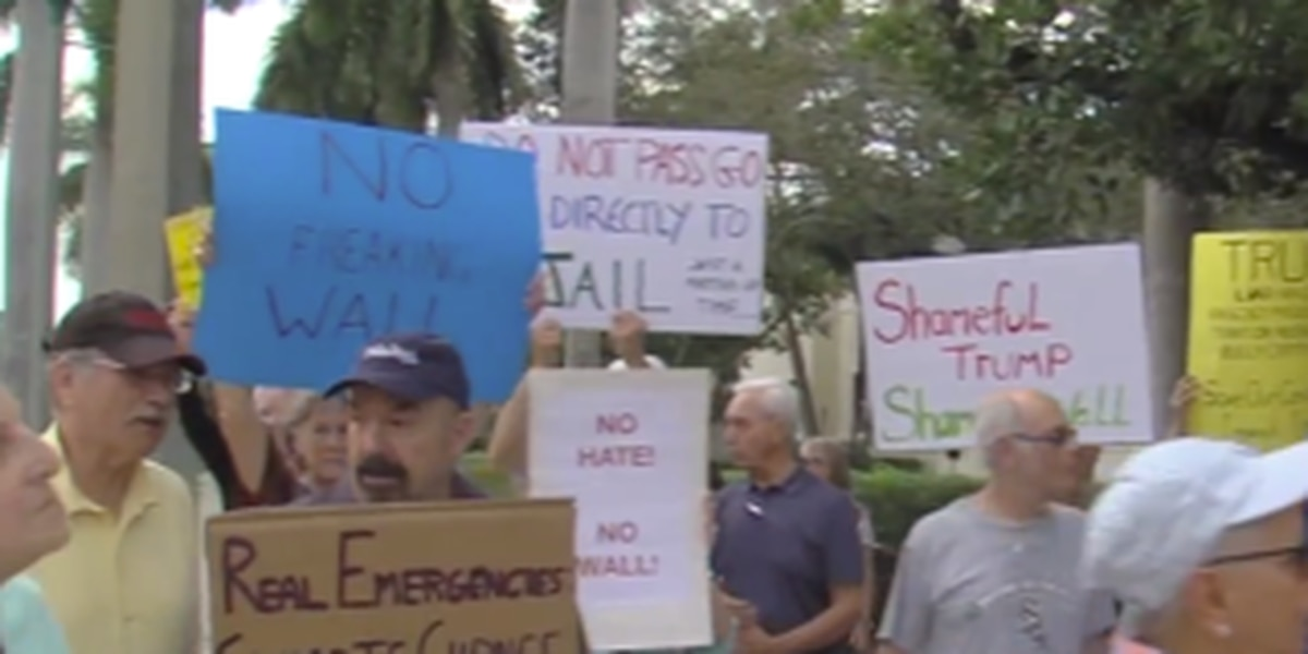 Demonstrations held in Delray Beach for and against President Trump
