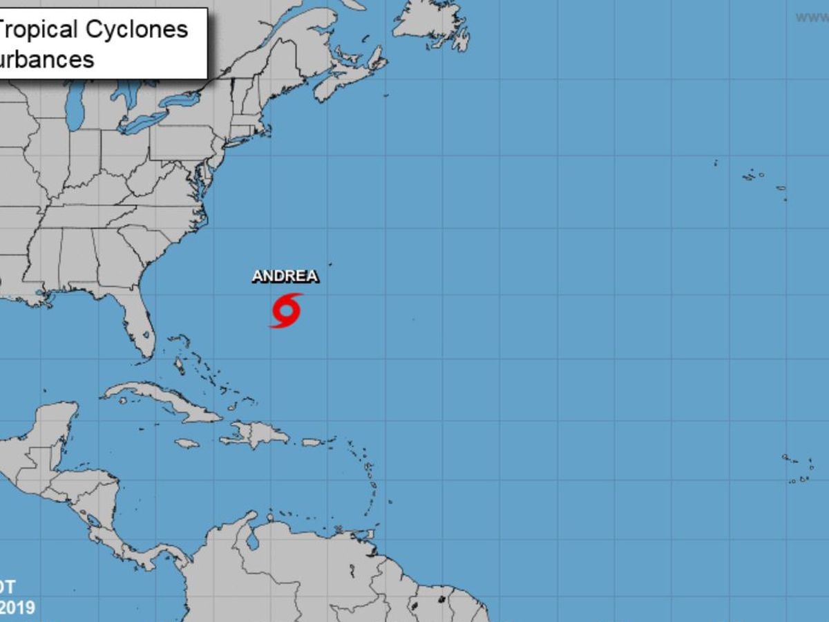 Andrea, 1st named storm of Atlantic season, downgraded to depression