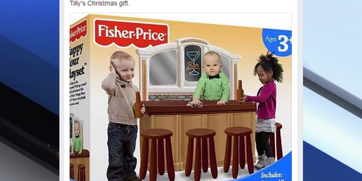 Social media outrage over FAKE 'Fisher-Price Happy Hour Playset'