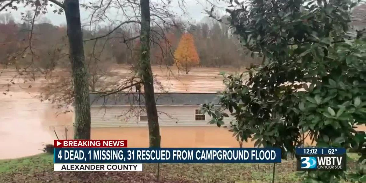 Four dead, one missing, 31 rescued from NC campground flood