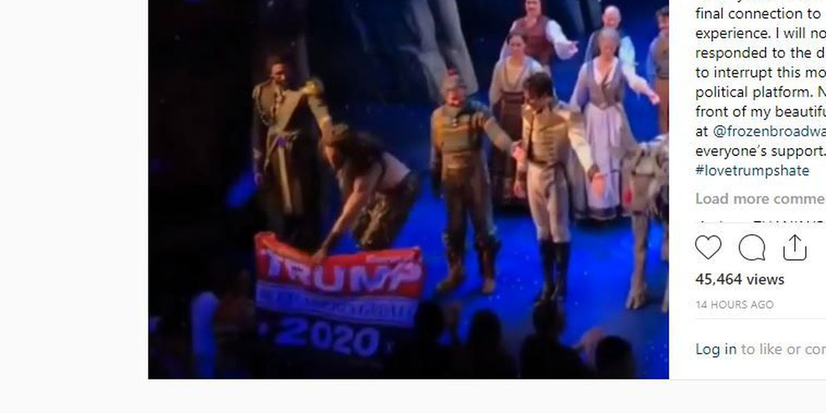 'Frozen' actor snatches pro-Trump banner from man at Broadway play