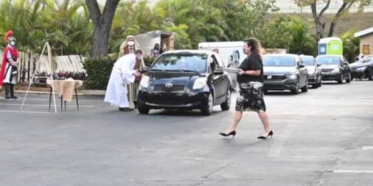 Boca Raton church holds drive-thru story of Easter