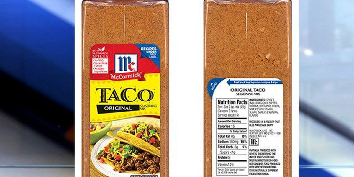Mccormick Recalls Taco Seasoning Mix