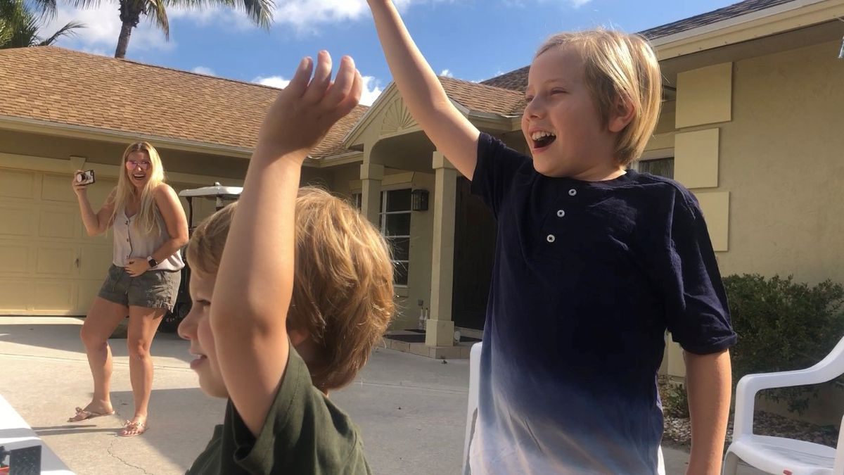 Neighbors celebrate 10-year-old's birthday with social distancing