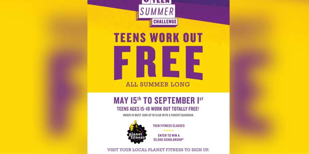 Planet Fitness sweepstakes allows teens to workout for free all summer