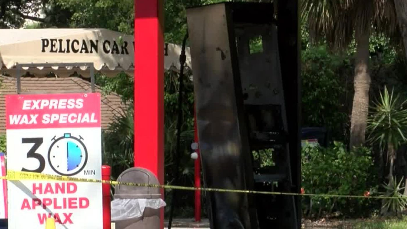 Crash causes fire at car wash/gas station in North Palm Beach