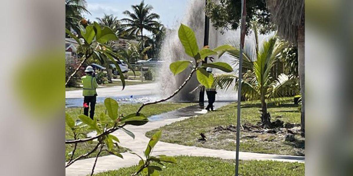 Water main break in Lantana sends water shooting into air