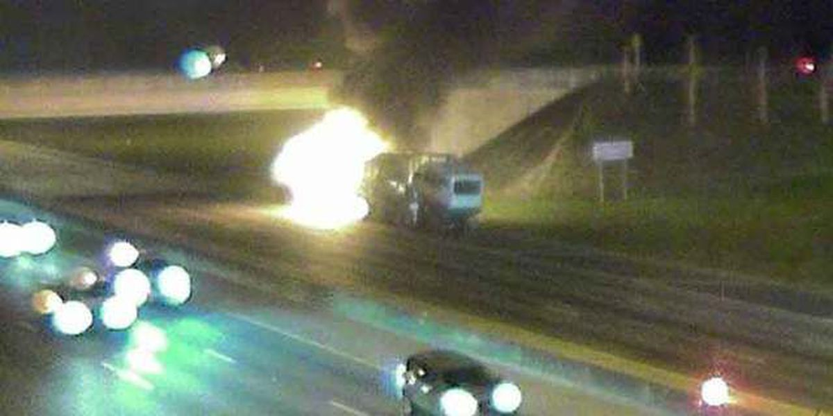 Vehicle fire on Florida's Turnpike northbound slows traffic in southern Palm Beach County