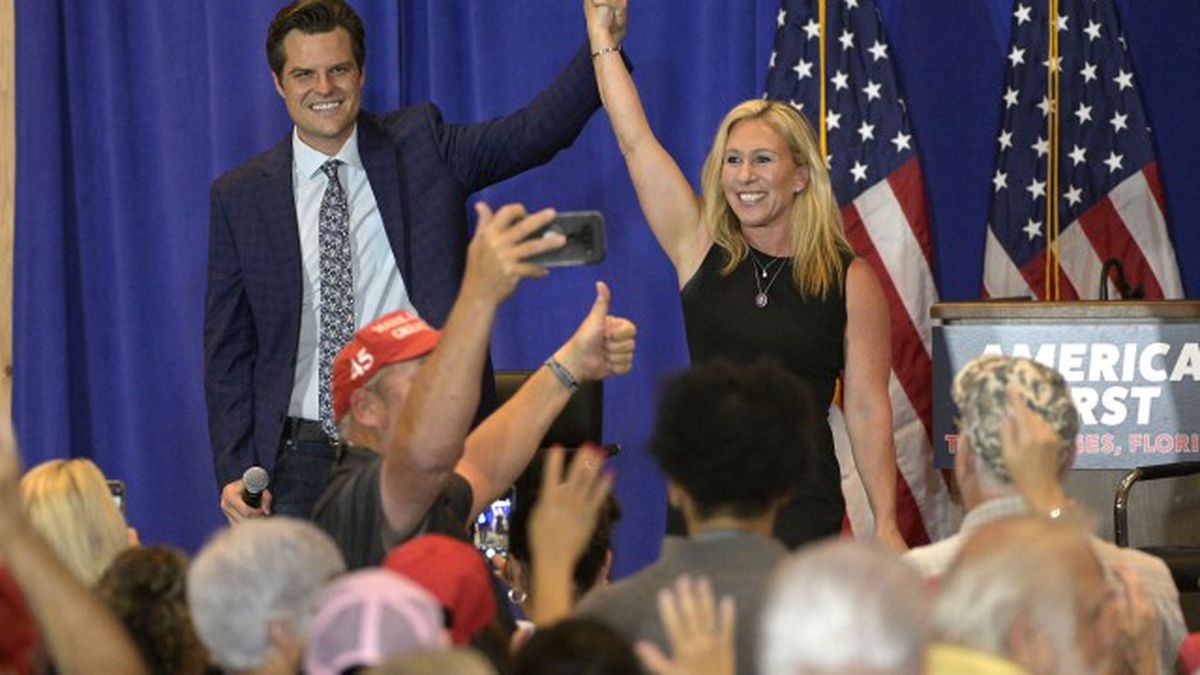 Gaetz, Greene appear together at Florida rally