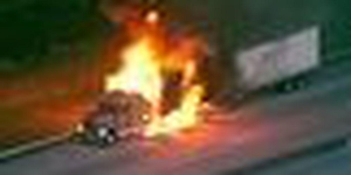 Semi engulfed by fire on Turnpike near Beeline