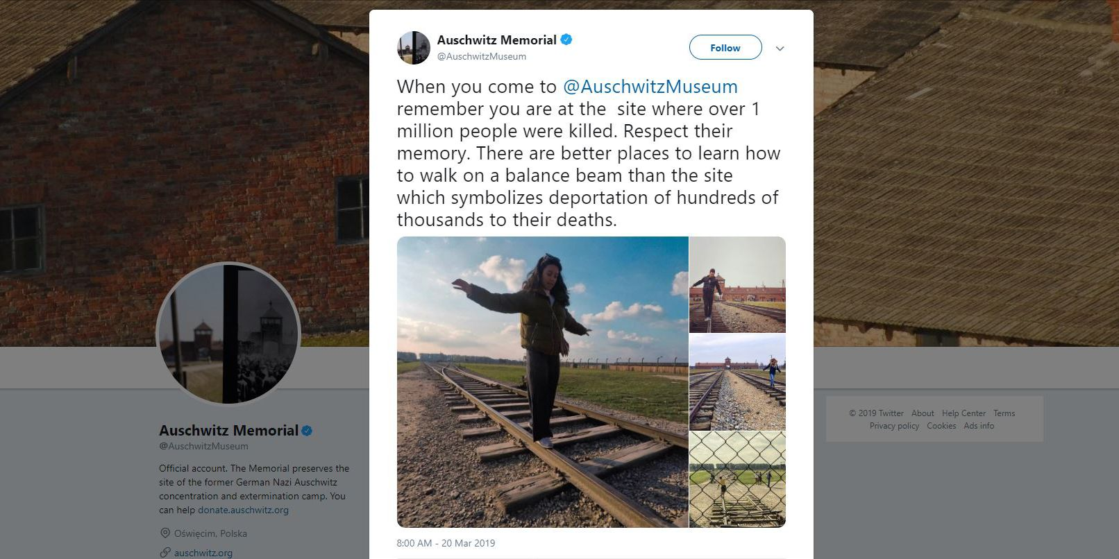 Auschwitz Memorial asks visitors to stop taking cute photos at former Nazi death camp