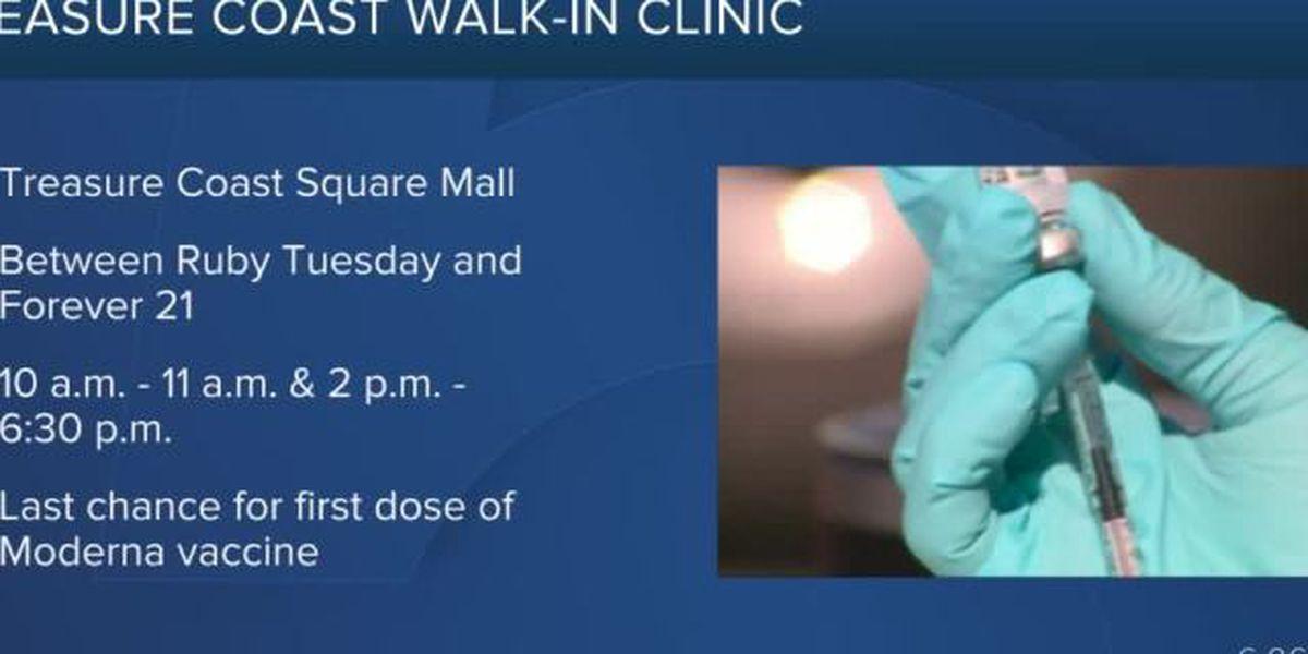 Walk-in coronavirus vaccine clinic ending at Treasure Coast Square Mall