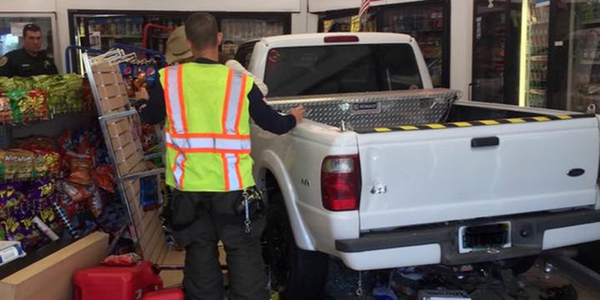 Truck crashes into store near Fort Pierce
