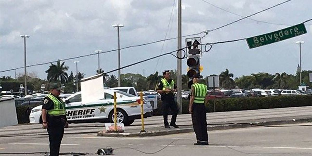 Crash knocks down power lines in West Palm Beach