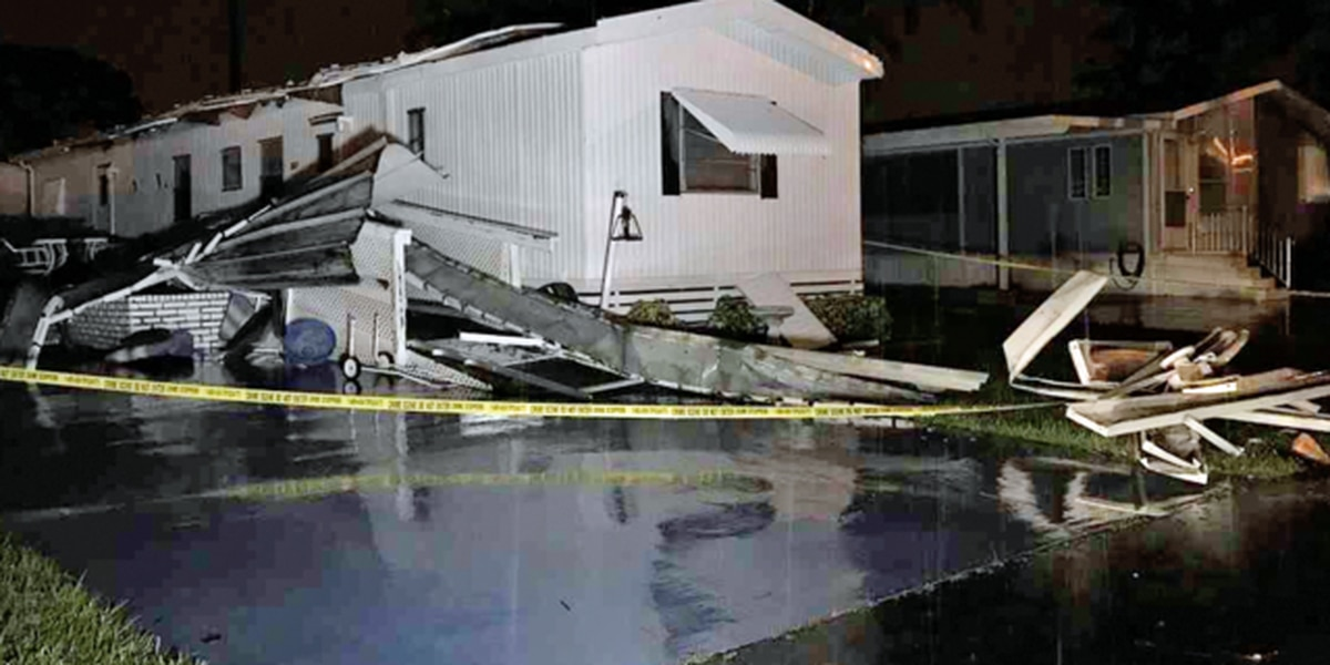 Mobile homes damaged in suburban Boynton