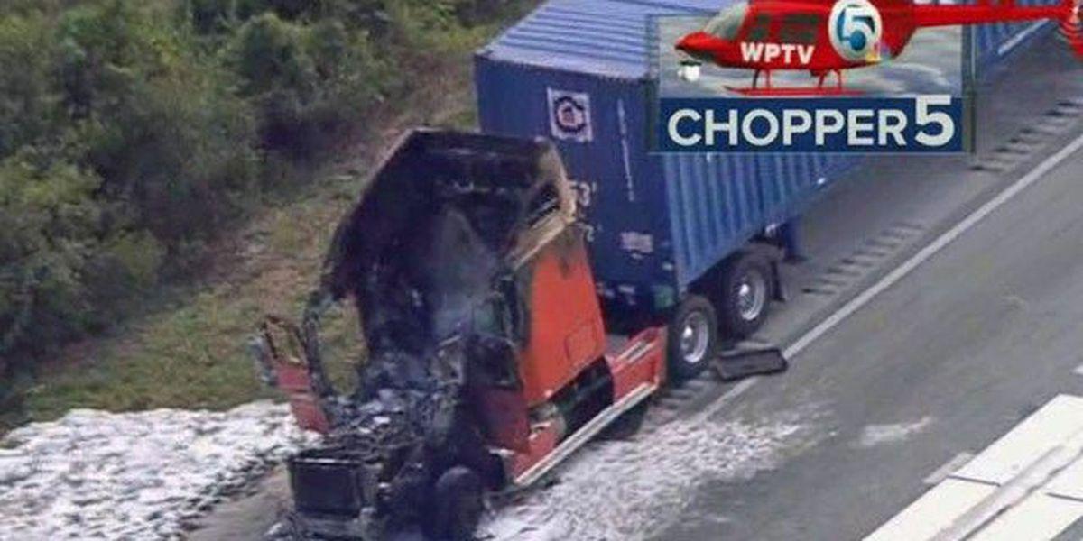 Semi fire causes I-95 delays