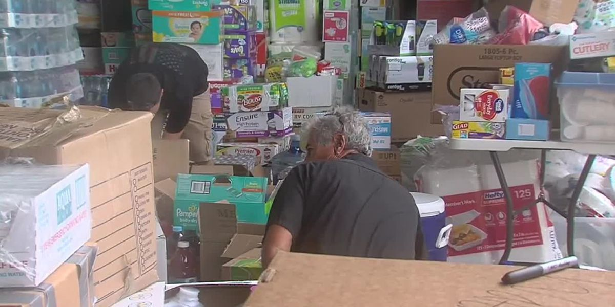 Volunteers collect donations at Witham Field in Stuart for Hurricane Dorian victims