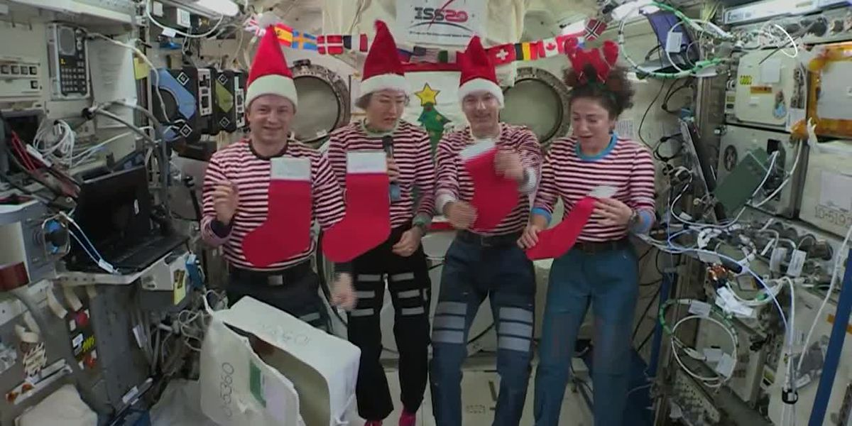Astronauts on the International Space Station celebrate the holidays