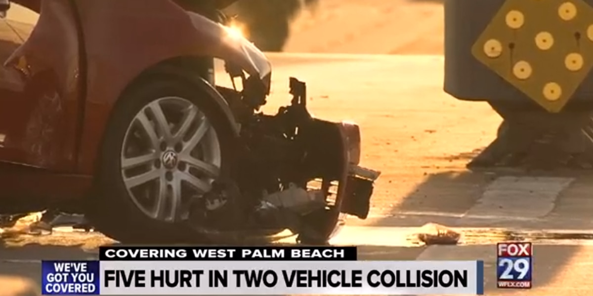 Five people hurt in West Palm Beach crash