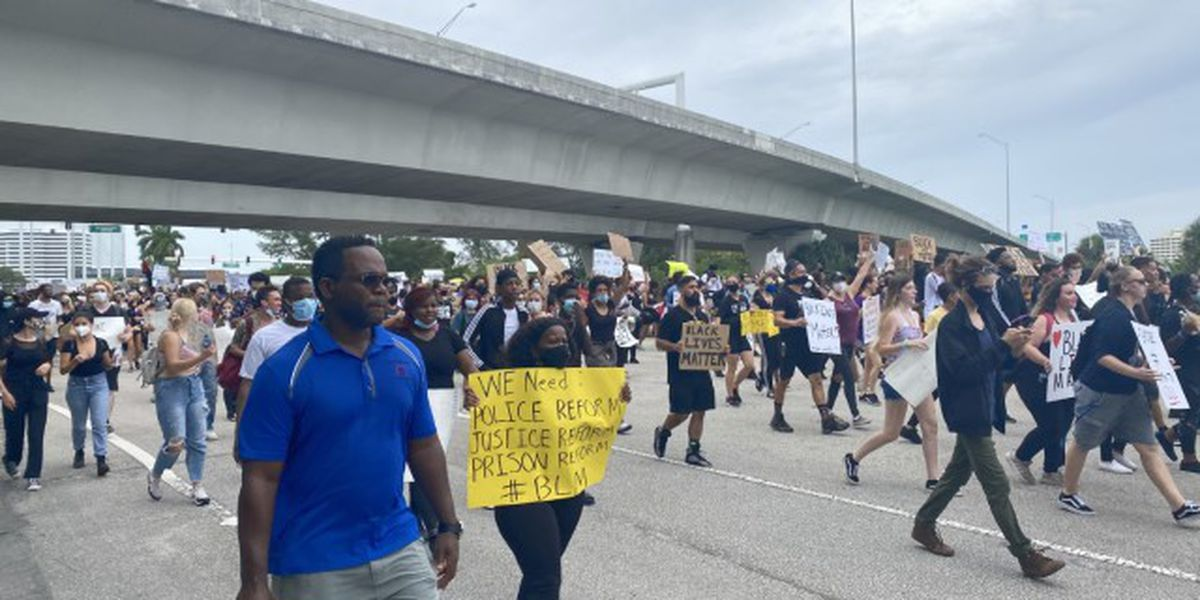 Protesters march throughout West Palm Beach