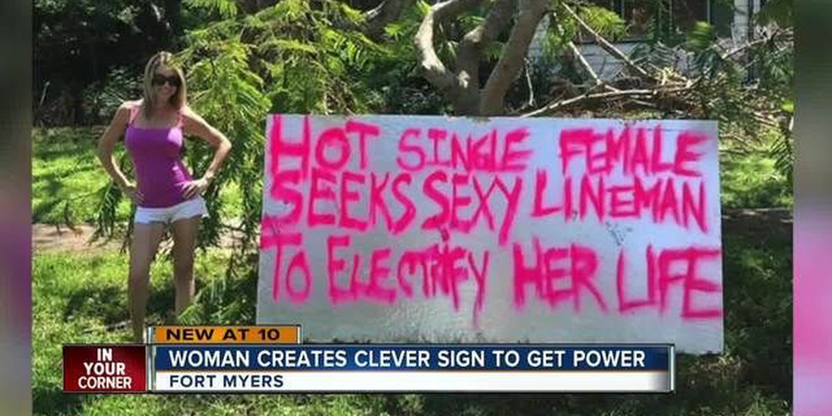 Florida woman creates sign to get power back on